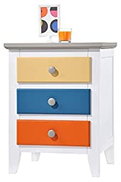 Donco Trading Company 993C Multi Color 3 Drawer Nightstand