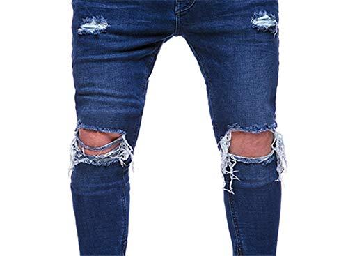 Vaqueros 1877 Zip Destruido Moto Pantalones Slim Hombre Elásticos Caviglia Fit 6wqn15zx
