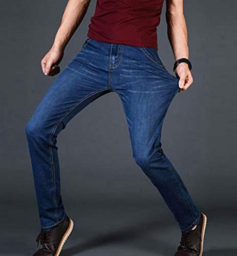 Denim Dunkelblau Jeans In Moda Uomo Dritto Retrò Da Fit Slim Skinny Pantaloni Casual Elasticizzato wqxTZXqO