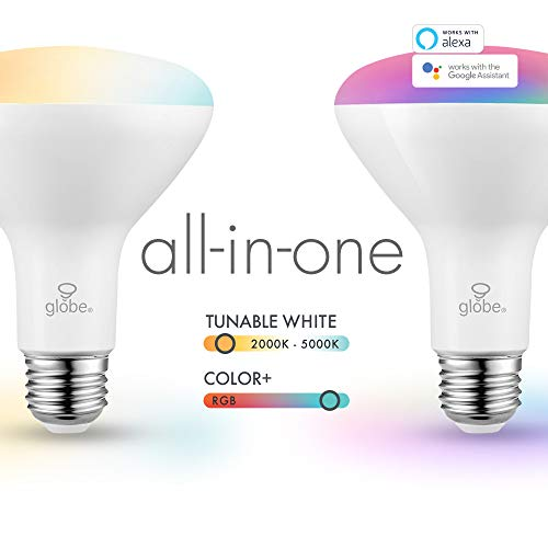 Globe Electric Wi-Fi Smart 10 Watt (65W Equivalent) Multicolor Changing RGB Tunable White Frosted LED Light Bulb, No Hub Required, Voice Activated, 2000K - 5000K, BR30 Shape, E26 Base,50035