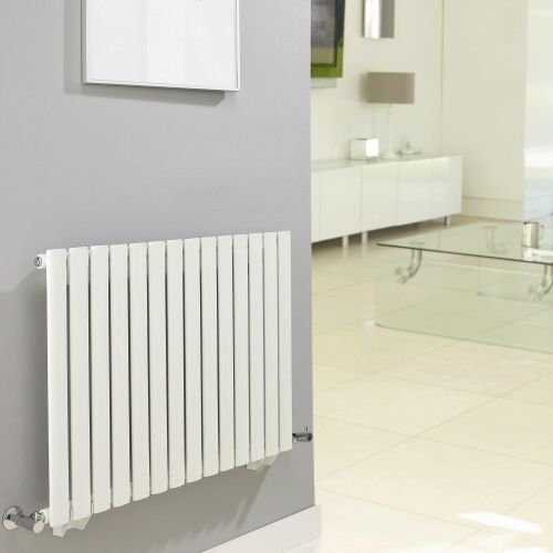 Hudson Reed NAHB0022 - Luxury White Horizontal Designer Radiator Heater With Free Angled Valves - Mild Steel - 25'' x 46.25'' - 1199 Watts - Compact Hydronic Warmer - Cast Iron Style by Hudson Reed (Image #1)