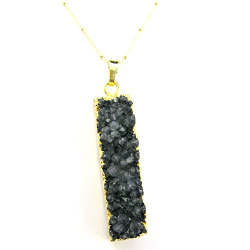 (Large Black Druzy Agate Gemstone Bar Necklace, Long Gem Bar, Gold Plated Sterling Silver Beaded Necklace Chain (16 inches))