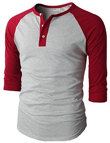 H2H Mens Casual Slim Fit Raglan Baseball Three-Quarter Sleeve Henley Premium T-Shirts RED US XL/Asia 2XL (Quarter Sleeves)
