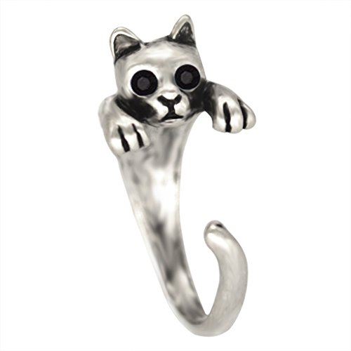 (Chengxun Animal Jewelry Lovely Cat Antique Silver Plated Tone Alloy Open Ring for Women Girls Gift )