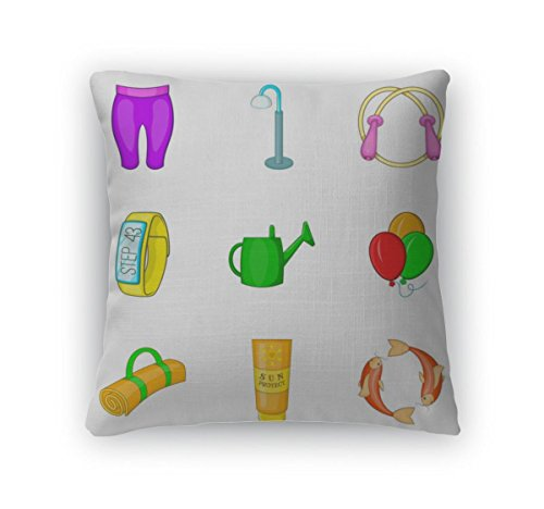 Gear New Throw Pillow Accent Decor, Outdoor Summer Sport Icon Set Cartoon Style, 20