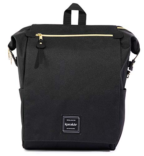 - KJARAKÄR Backpack All Around Great Bag for Commuters, Travelers, Moms, Dads and Kids. Use as Diaper Bag, Gym Bag, Bookbag and More! TSA Friendly | Water Resistant (Black)