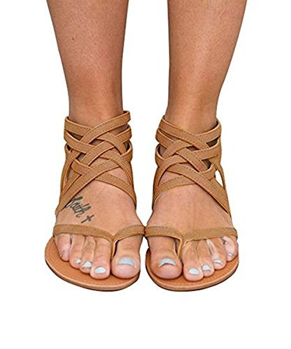 ef0cb12fe1f46f Ferbia 5 Colors Women New Strappy Flat Sandals Summer Bohemian Sandals  Casual Shoes Siz