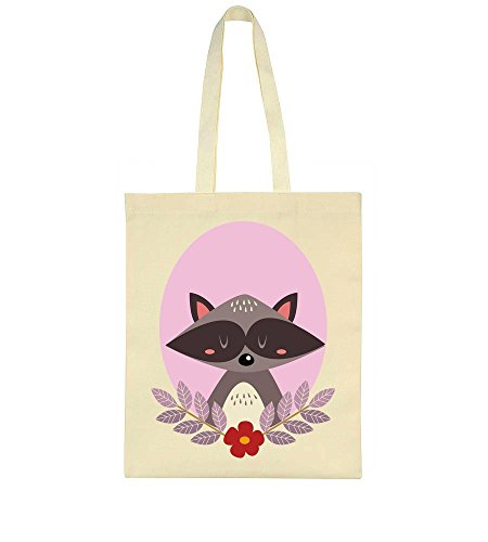 Adorable Portrait Light Flowers Tote Pink Raccoon With In Bag 5rz5Sq