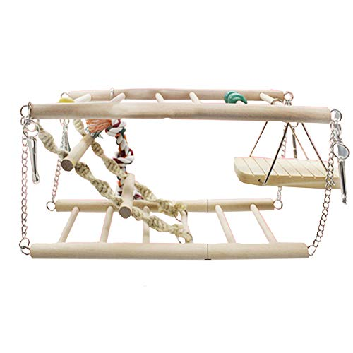 (DENTRUN Parrot Playstand Bird Play Stand Cockatiel Playground, Wood Gym Playpen Ladder Toys, Exercise Large Parrots Ladders Playgym Electus Cockatoo Parakeet Conure Toy Climbing Tree)