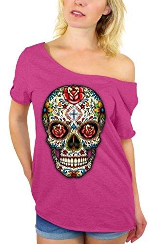 Awkwardstyles Sugar Skull Rose Eyes Off Shoulder Tops T-Shirt + Bookmark 2XL Pink