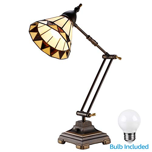 Arm Vintage Swing (ESCENA Tiffany Style Swing Arm Table Lamp, Vintage Desk Light, Handmade Lampshade, LED G45 Bulb Included, Decoration for Living Rooms, Bedrooms, Offices, Study Rooms)