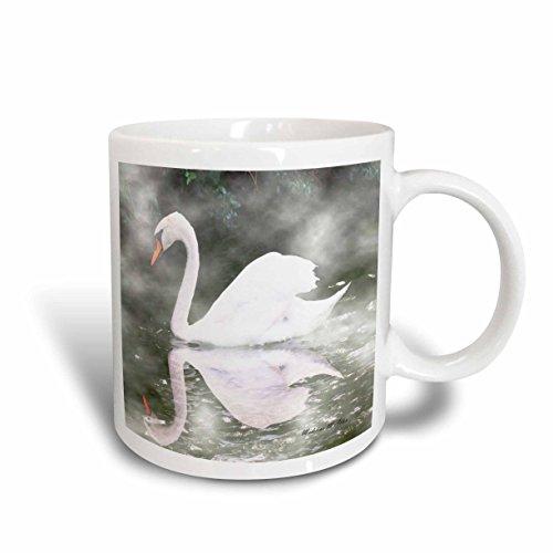 3dRose Swan in The Mist Photography Ceramic Mug, 15-Ounce ()