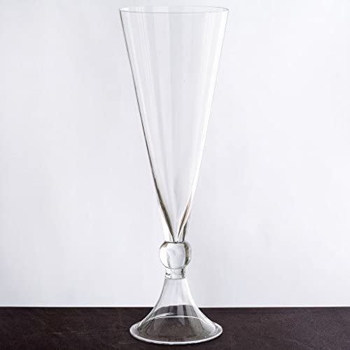 BalsaCircle 4 pcs 14 Tall Clear Glass Trumpet Vases for Wedding Party Flowers Centerpieces Home Decorations Bulk Supplies