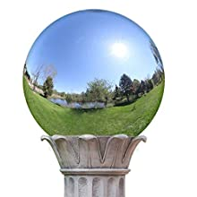 "KANFF 6-Inch Silver Gazing Globe Mirror Ball, 6"" Polished Stainless Steel Gazing Ball, Colorful and Shiny Addition to Patio, Garden and Home"