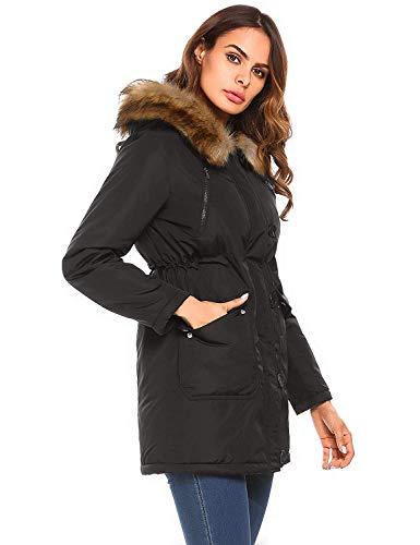 Élégant Femmes Manteau Coupe Hooded Piqué Vestes Parka Veste Col Automne Mode Classique De Manteaux Poches Vent D'hiver Femmes Veste Hiver Schwarz Avec Fourrure Casual 8wWIdW4Sq