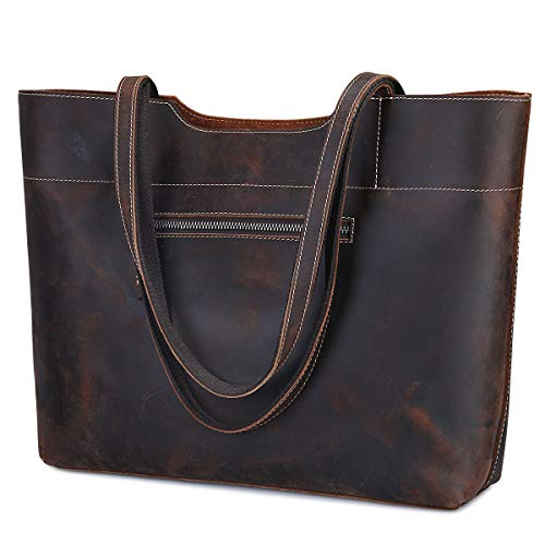 S-ZONE Vintage Genuine Leather Tote Bag for Women Large Handbag Shoulder Purse