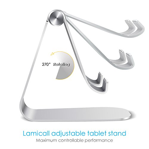 Tablet Stand Adjustable, Lamicall iPad Stand : Desktop Stand Holder Dock for new iPad 2017 Pro 9.7, 10.5, Air mini 2 3 4, Kindle, Nexus, Accessories, Tab, E-reader, other Tablets (4-13 inch) - Silver