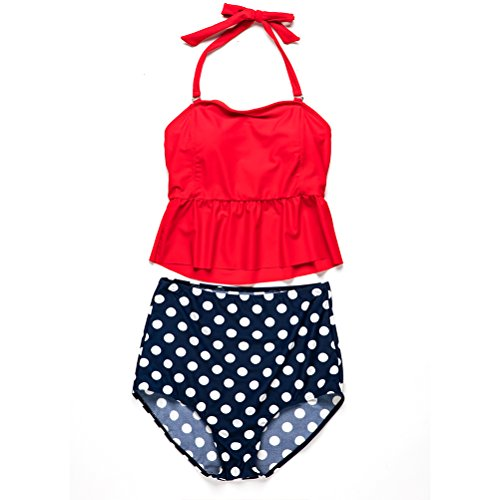 Zhhlaixing Women Nadando Bikini Set High Waisted Swimwear 2pcs Halter Neck Swimsuit Red&Blue