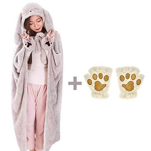 - Elibelle Kids Teenager Critter Wearable Hooded Blanket Gloves Set(Gray) PIF02