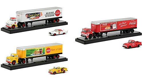 New DIECAST Toys CAR M2 MACHINES 1:64 AUTO-HAULERS Release QL01 - COCA-COLA HAULERS with CAR Inside (3 Styles) Set of 3 56000-QL01