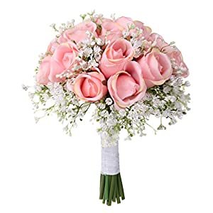 XGao Wedding Bouquet Crystal Soft Ribbons Rose Pearl Babysbreath Bridesmaid Bridal Wedding Bouquets Bride Artificial Silk Flower for Wedding Party Church Romantic (B)