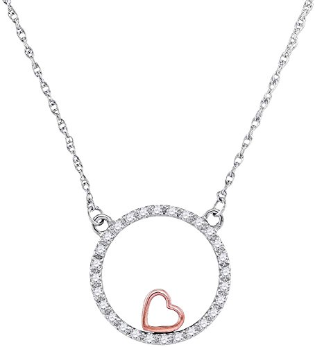 Jewels By Lux 10kt Two-tone Gold Womens Round Diamond Heart Circle Pendant Necklace 1/6 - Gold Pendant Circle Necklace Heart