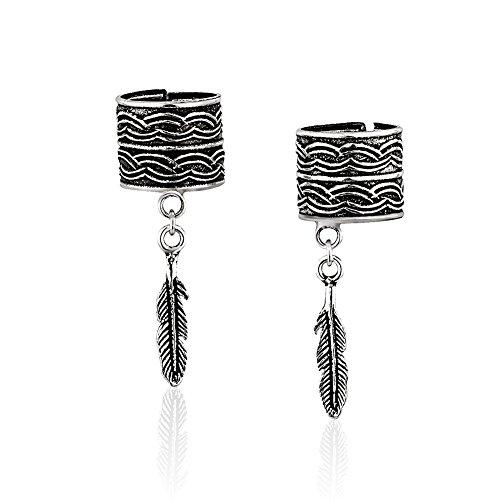 925 Sterling Silver Single Leaf No Pierce Detail Ear Cuff Wrap Earrings, Set of Two (2) 3, 28 mm (No Ear Cuff Pierce)