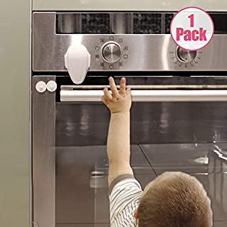 EUDEMON 1 PackChildproof Oven Door Lock, Oven Front Lock Easy to Install and Use Durable and Heat-Resistant Material no Tools Need or Drill (White)