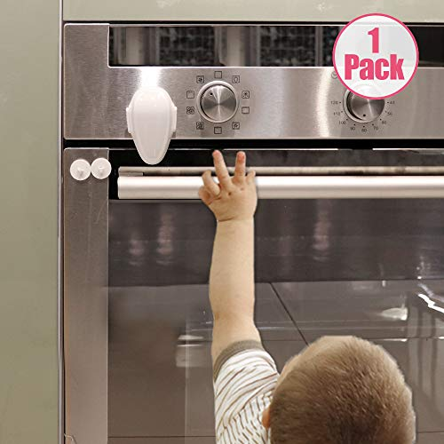 EUDEMON Childproof Oven Door Lock, Oven Front Lock Easy to Install and Use Durable and Heat-Resistant 3M Tapes no Tools Need or Drill(1 Pack,White) (Lock Oven)