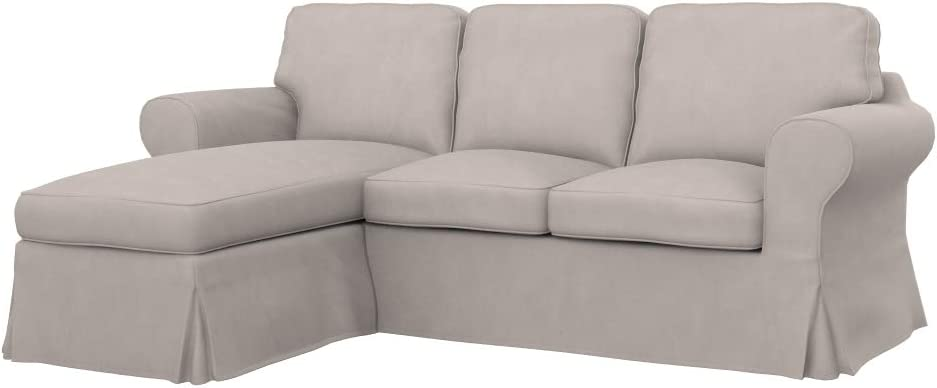 Amazon De Soferia Bezug Fur Ikea Ektorp 2er Sofa Mit Recamiere Stoff Majestic Velvet Dove