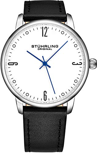 (Stuhrling Original Mens Watch Black Leather Strap - Dress + Casual Design - White Analog Watch Dial and Silver Case, 3997B Watches for Men Collection)