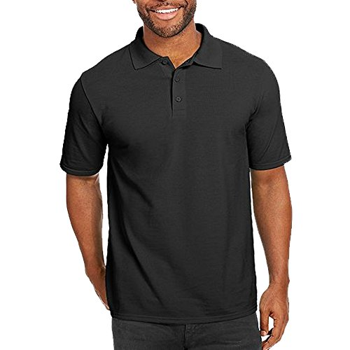 Just No Logo Men's Short Sleeve Cotton Casual Fit Polo Shirt with Solid Color(Black,M/Label Size XL)