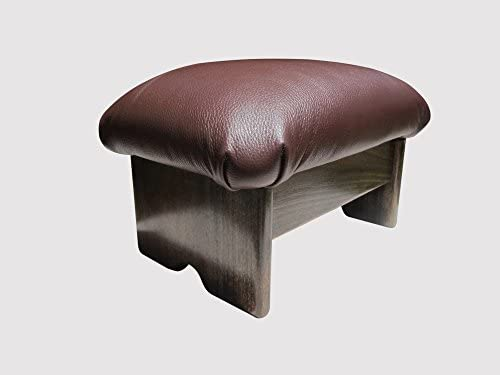KR Ideas Padded Foot Stool Chocolate Ganache Leather Made in the USA 12 Tall – Walnut Stain
