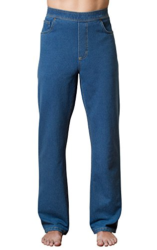 PajamaJeans Men's Straight Leg Knit Denim Jeans in Blue, Pacific Wash, LRG Detail Straight Leg Jeans