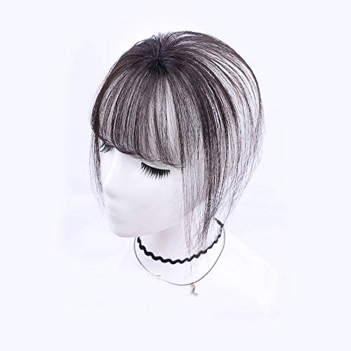 Stamped Glorious Real Human Hair Clip on Bangs Topper 3D Hand Made Air Bangs Crown Wiglet Hairpieces for Women (Natural Color)