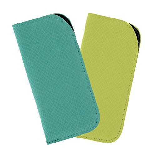 2 Pack Soft Eyeglass Slip Case For Women & Men - Faux Snake In Teal & Lime - Lime Eyeglasses Green