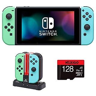 NexiGo 2020 Nintendo_Switch Console Family Christmas Holiday Bundle - Animal Crossing: New Horizons Edition 128GB MicroSD Card + Joy-Con and Pro Controllers Charging Dock Holiday Bundle