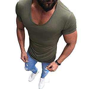 XARAZA Mens Slim Fitted Short Sleeve T-Shirts O-Neck Summer Top Clothes
