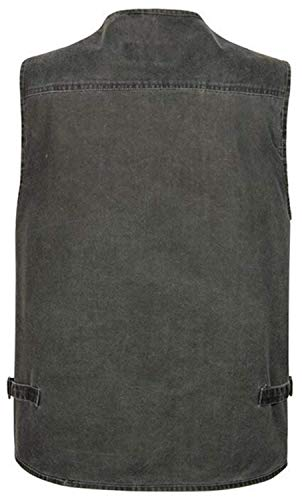 De Chaqueta Aire Chaleco Hombre De Al Transpirable Saoye Abrigos De Camiseta Jeans Clásico Libre Ligera Ropa Chaleco Sólido Chaqueta con Fashion De Color para Multi Grau Bolsillo w6Eq454t