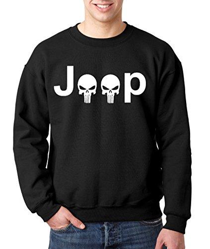 New Way 606 - Crewneck JEEP PUNISHER LOGO SKULLS Unisex Pullover Sweatshirt Large Black
