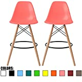 2xhome - Set of Two (2) - Pink - 25'' Seat Height Eames Chair Style DSW Molded Plastic Bar Stool Modern Barstool Counter Stools with backs and armless Natural Legs Wood Eiffel Legs Dowel-Leg