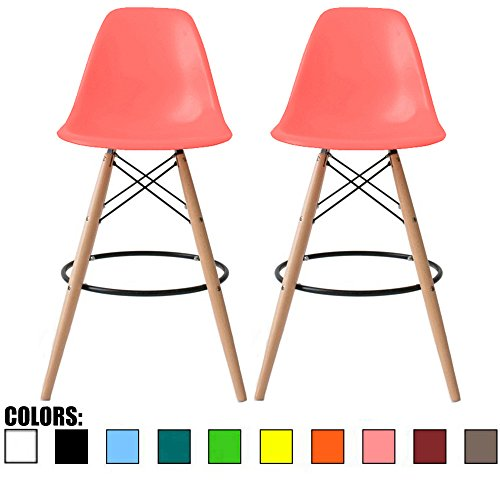 Leg Wood Seat - 2xhome Set of Two (2) - Pink - 25