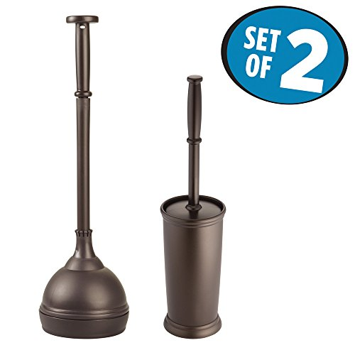 mDesign Bathroom Toilet Bowl Brush and Plunger - Set of 2, Bronze