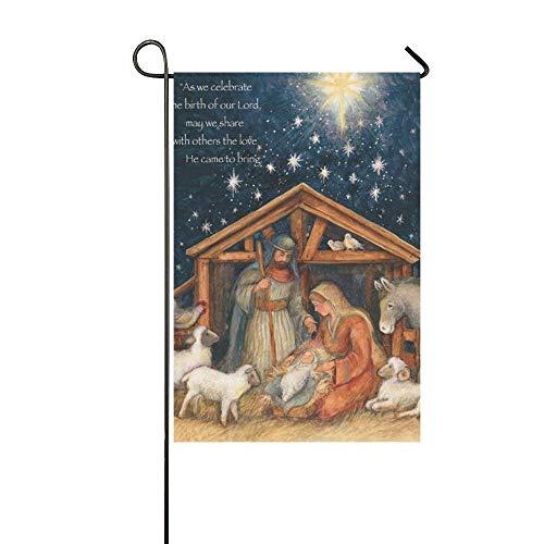 Afagahahs Garden Flag Holy Family Christmas Cards House Flag Decoration Double Sided Flag