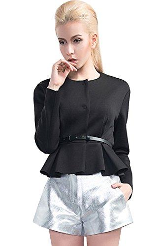 Agatha Garcia Women's Stylish Long Sleeves Solid Blazer with Ruffles