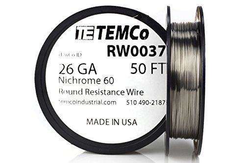 (TEMCo Nichrome 60 series wire 26 Gauge 50 Ft Resistance AWG)