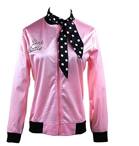 1950s Pink Ladies Satin Jacket Neck Scarf T Bird Women Danny Fancy Dress (M, Rhinestore) -