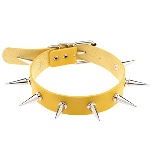FM FM42 Yellow Simulated Leather PU Punk Rock Gothic Spikes Rivets Choker Collar Necklace PN1425