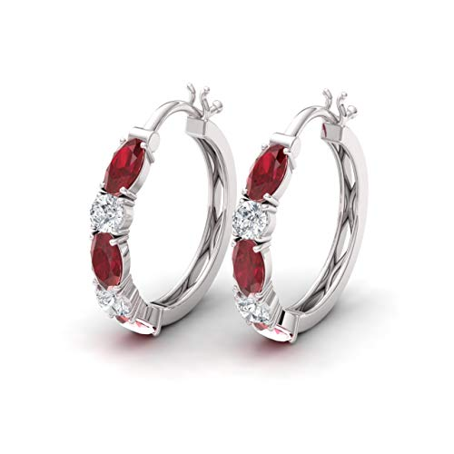 Diamondere Natural and Certified Ruby and Diamond Huggies Earrings in 14K White Gold | 2.06 Carat Earrings for Women