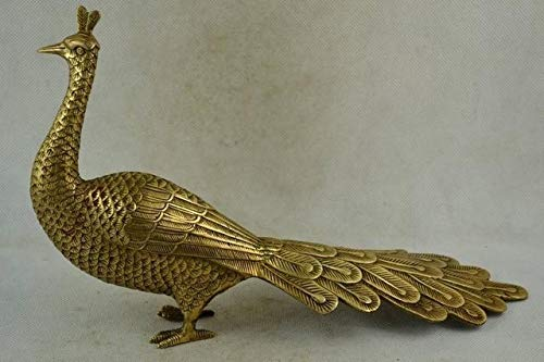 BeesClover 29CM Chinese Old Handwork Copper Carving A Lifelike Peacock Noble Statue Tools Wedding Decoration Brass Brass Show